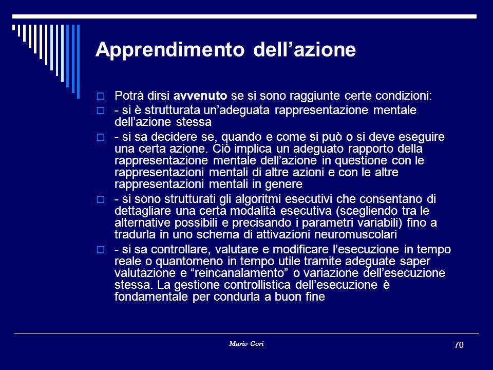 Mario Gori 70 Apprendimento dell'azione  Potrà dirsi avvenuto se si sono raggiunte certe condizioni:  - si è strutturata un'adeguata rappresentazion