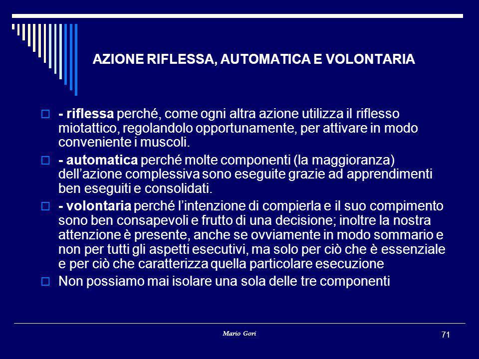 Mario Gori 71 AZIONE RIFLESSA, AUTOMATICA E VOLONTARIA  - riflessa perché, come ogni altra azione utilizza il riflesso miotattico, regolandolo opportunamente, per attivare in modo conveniente i muscoli.