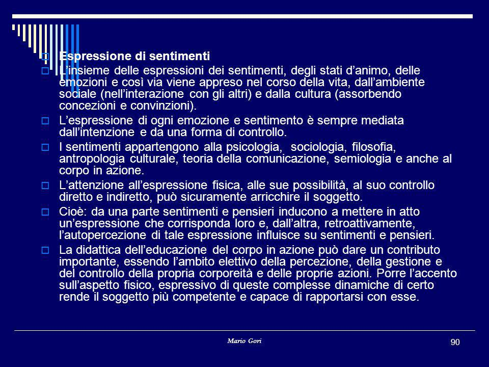 Mario Gori 90  Espressione di sentimenti  L'insieme delle espressioni dei sentimenti, degli stati d'animo, delle emozioni e così via viene appreso nel corso della vita, dall'ambiente sociale (nell'interazione con gli altri) e dalla cultura (assorbendo concezioni e convinzioni).