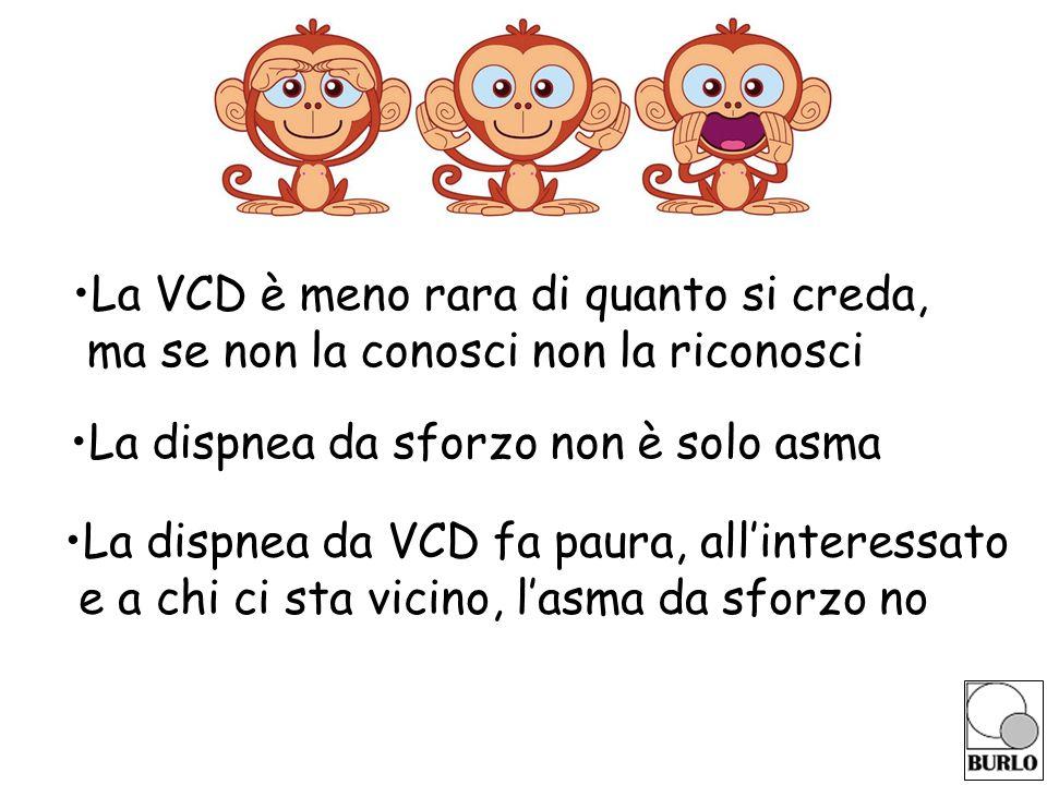 La VCD è meno rara di quanto si creda, ma se non la conosci non la riconosci La dispnea da sforzo non è solo asma La dispnea da VCD fa paura, all'interessato e a chi ci sta vicino, l'asma da sforzo no