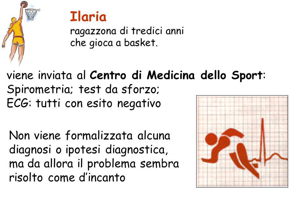 viene inviata al Centro di Medicina dello Sport: Spirometria; test da sforzo; ECG: tutti con esito negativo Ilaria ragazzona di tredici anni che gioca