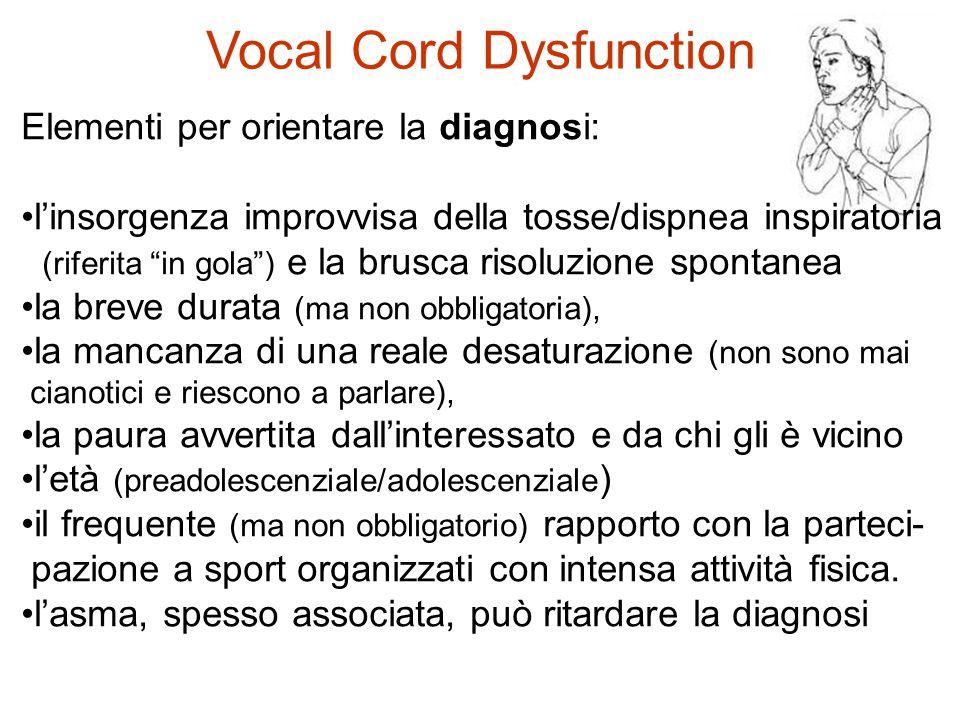 """Elementi per orientare la diagnosi: l'insorgenza improvvisa della tosse/dispnea inspiratoria (riferita """"in gola"""") e la brusca risoluzione spontanea la"""