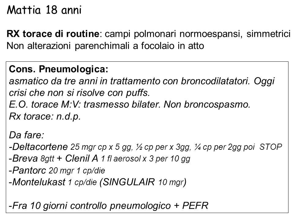 RX torace di routine: campi polmonari normoespansi, simmetrici Non alterazioni parenchimali a focolaio in atto Cons. Pneumologica: asmatico da tre ann