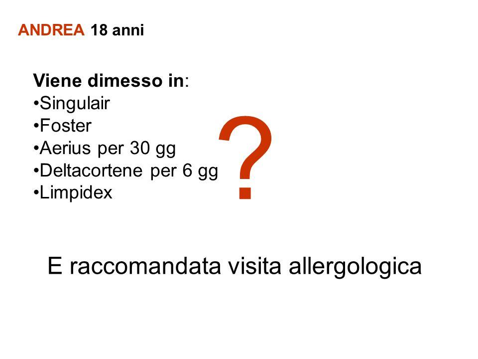 ANDREA 18 anni Viene dimesso in: Singulair Foster Aerius per 30 gg Deltacortene per 6 gg Limpidex E raccomandata visita allergologica ?