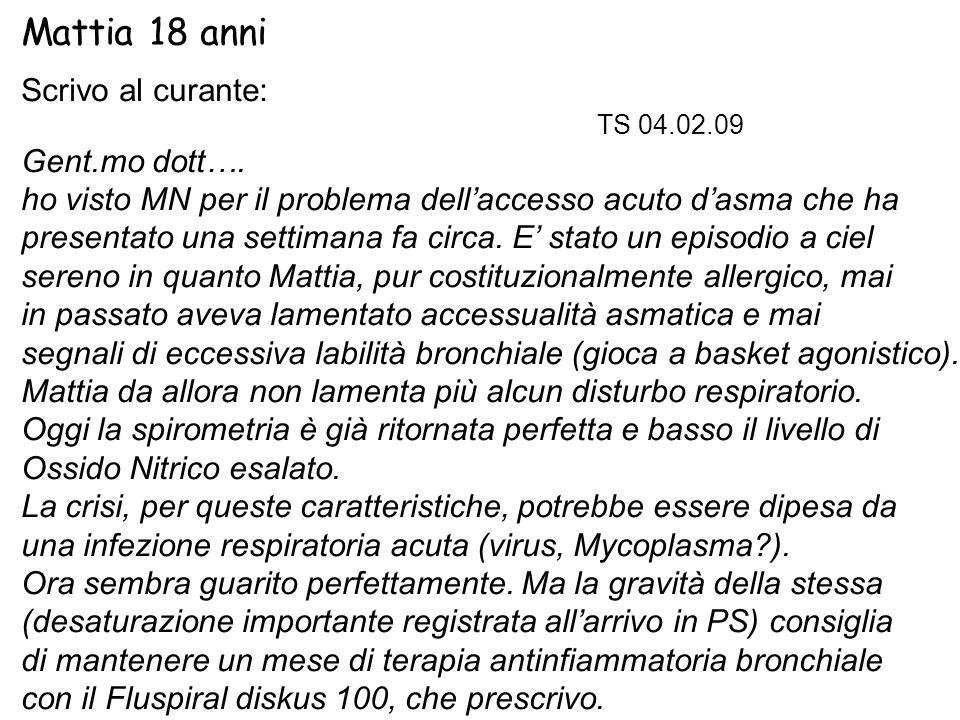 Mattia 18 anni Scrivo al curante: TS 04.02.09 Gent.mo dott…. ho visto MN per il problema dell'accesso acuto d'asma che ha presentato una settimana fa
