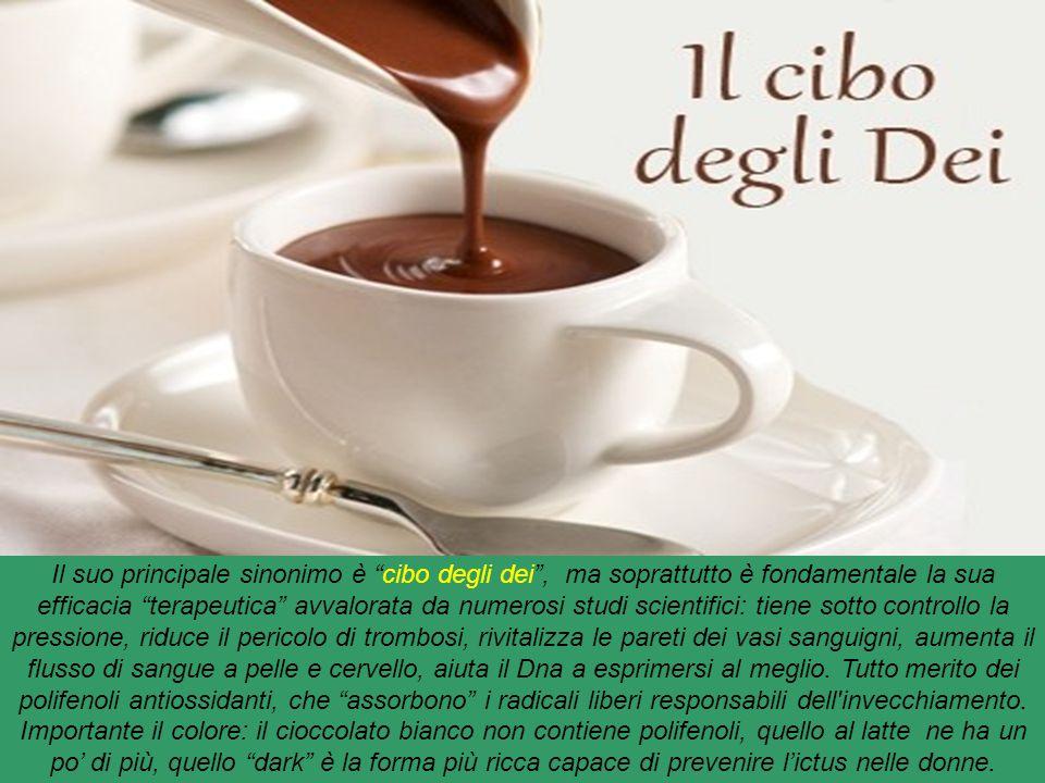 Cioccolato : alimento, diffuso e consumato in tutto il mondo, derivato dai semi dell' albero del cacao. Si prepara, industrialmente o artigianalmente,
