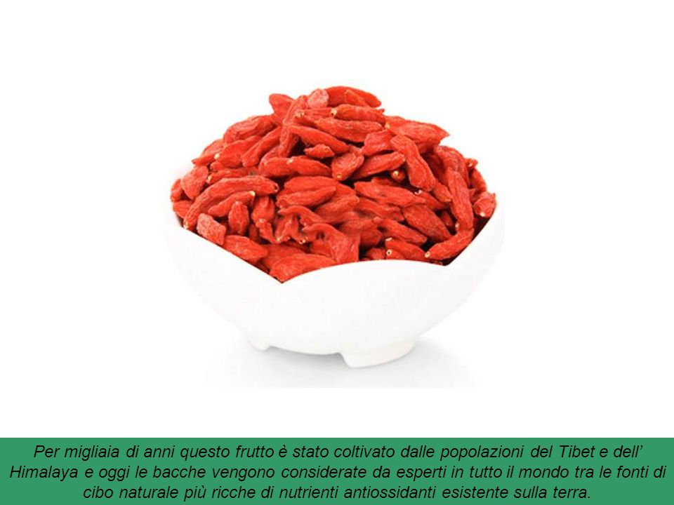 """Bacche di Goji : sono dei piccoli frutti rossi che arrivano dalla Cina. Sono un concentrato di vitamina C, betacarotene e oligoelementi. Chiamato """"Fru"""