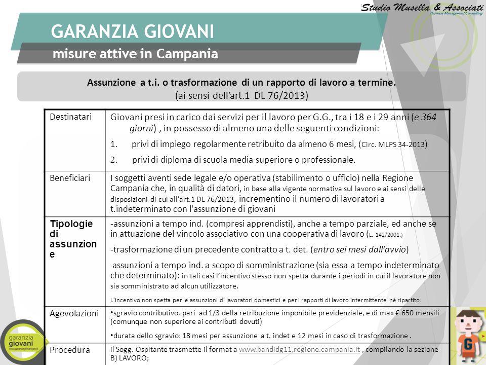 GARANZIA GIOVANI misure attive in Campania Tirocini di formazione e orientamento (DM 142 del 25/3/98-Regol.Reg.n.7 del 29/ 11/ 2013 e Regol.Reg. n. 9