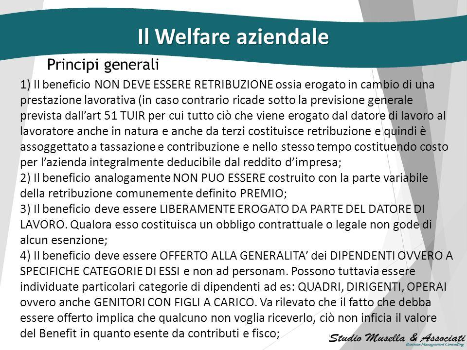 Cos'è il welfare aziendale Si tratta di beni e servizi a carattere Previdenziale/assicurativo Sociale/ricreativo/sanitario Educativo/formativo Il Welf