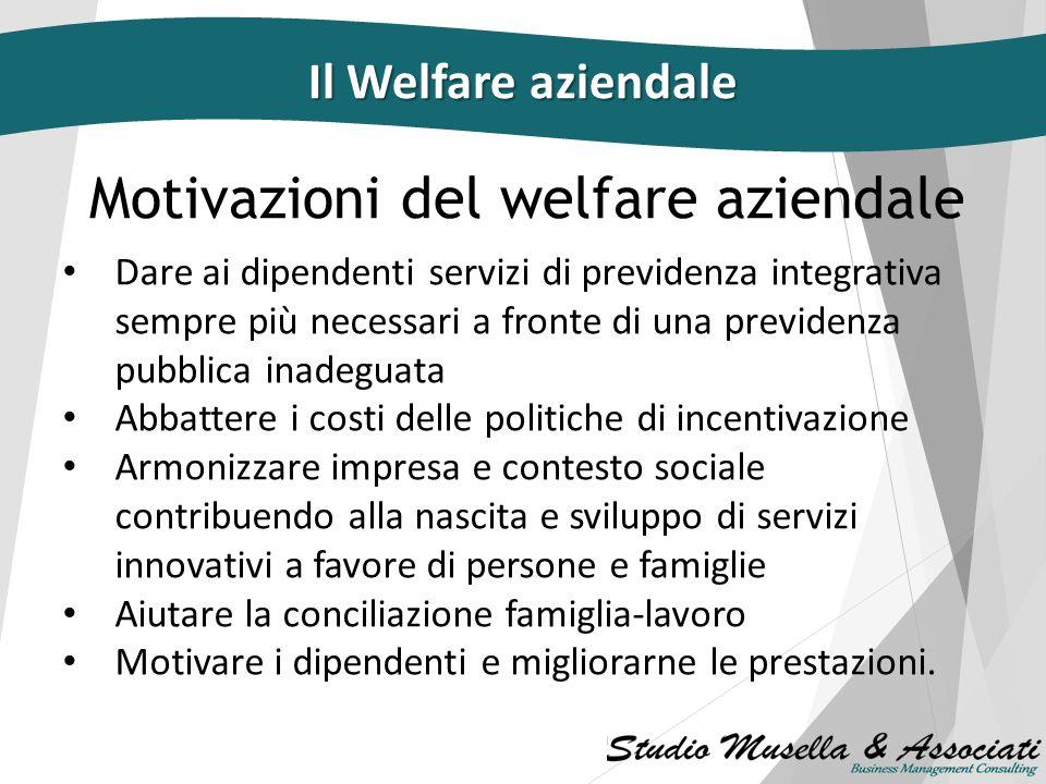 Caratteristiche di un piano di welfare aziendale Erogato per tutti i dipendenti o per una categoria omogenea di essi Realizzato e quantificato di anno