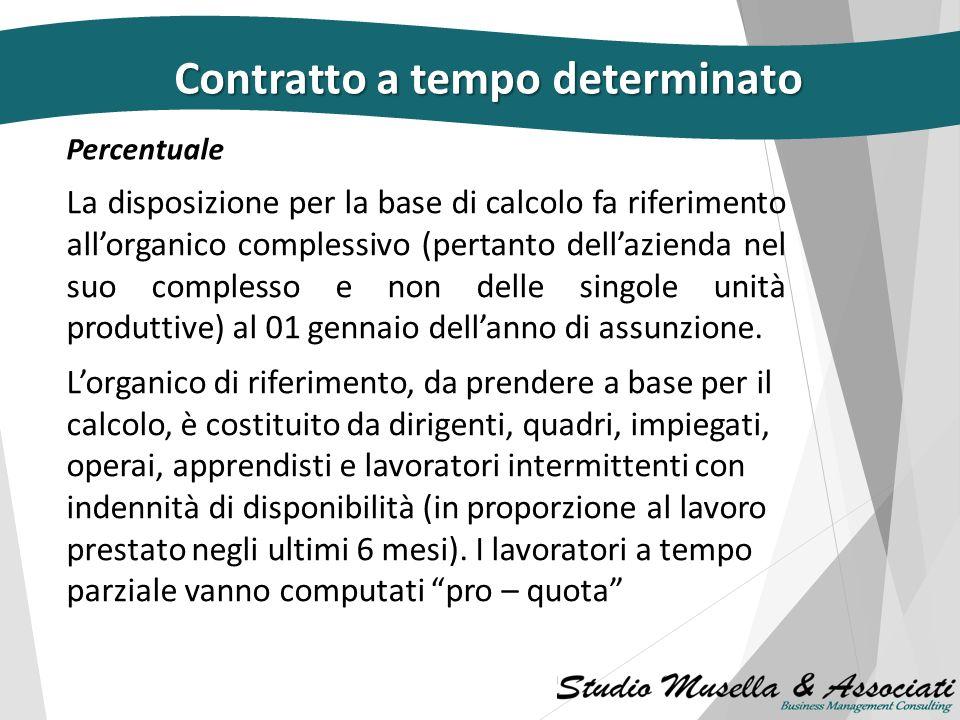 Contratto a tempo determinato Il numero complessivo dei rapporti, non può superare il 20% dell'organico complessivo al 1° gennaio dell'anno di assunzi