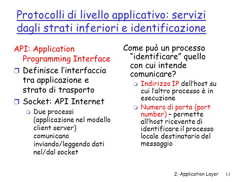 2: Application Layer 13 Protocolli di livello applicativo: servizi dagli strati inferiori e identificazione API: Application Programming Interface r D