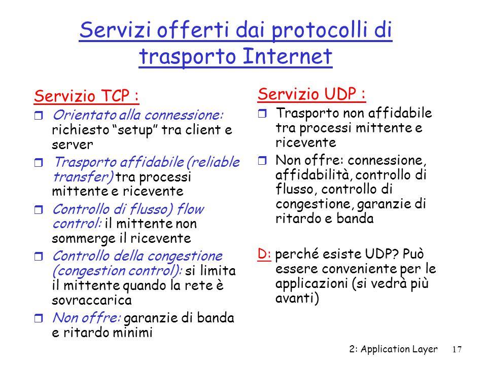 """2: Application Layer 17 Servizi offerti dai protocolli di trasporto Internet Servizio TCP : r Orientato alla connessione: richiesto """"setup"""" tra client"""