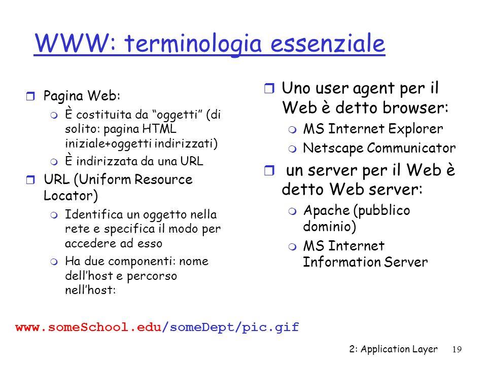 """2: Application Layer 19 WWW: terminologia essenziale r Pagina Web: m È costituita da """"oggetti"""" (di solito: pagina HTML iniziale+oggetti indirizzati) m"""