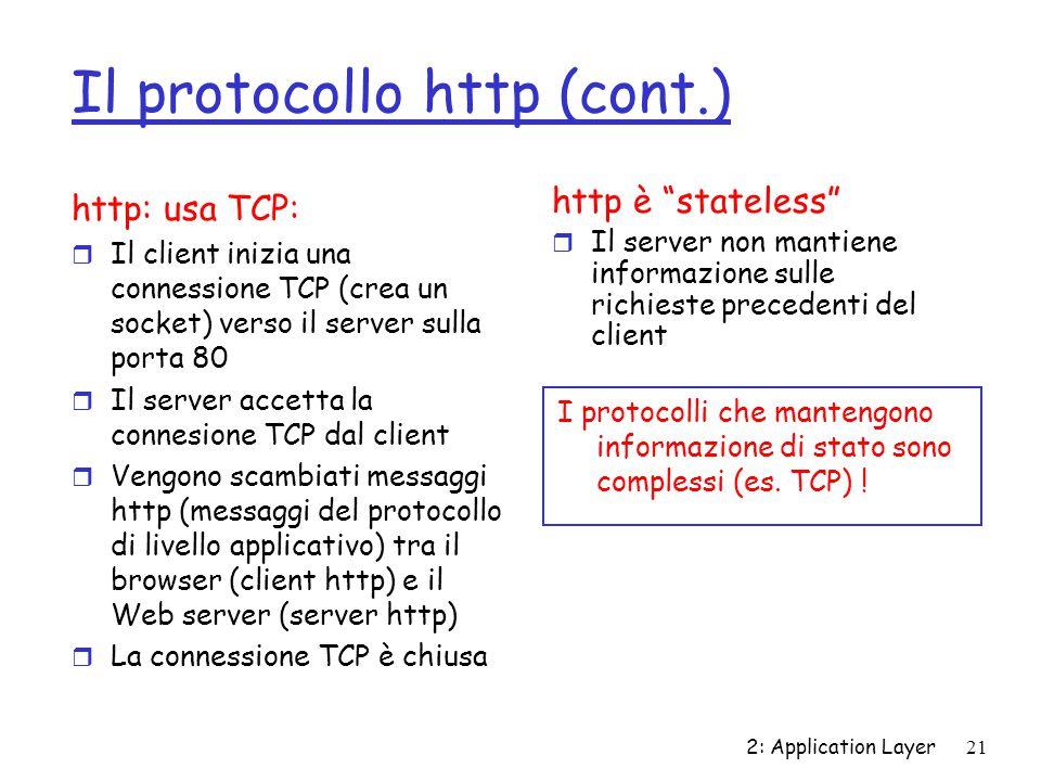 2: Application Layer 21 Il protocollo http (cont.) http: usa TCP: r Il client inizia una connessione TCP (crea un socket) verso il server sulla porta