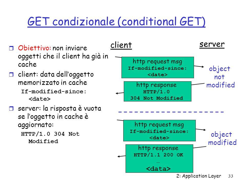 2: Application Layer 33 GET condizionale (conditional GET) r Obiettivo: non inviare oggetti che il client ha già in cache r client: data dell'oggetto