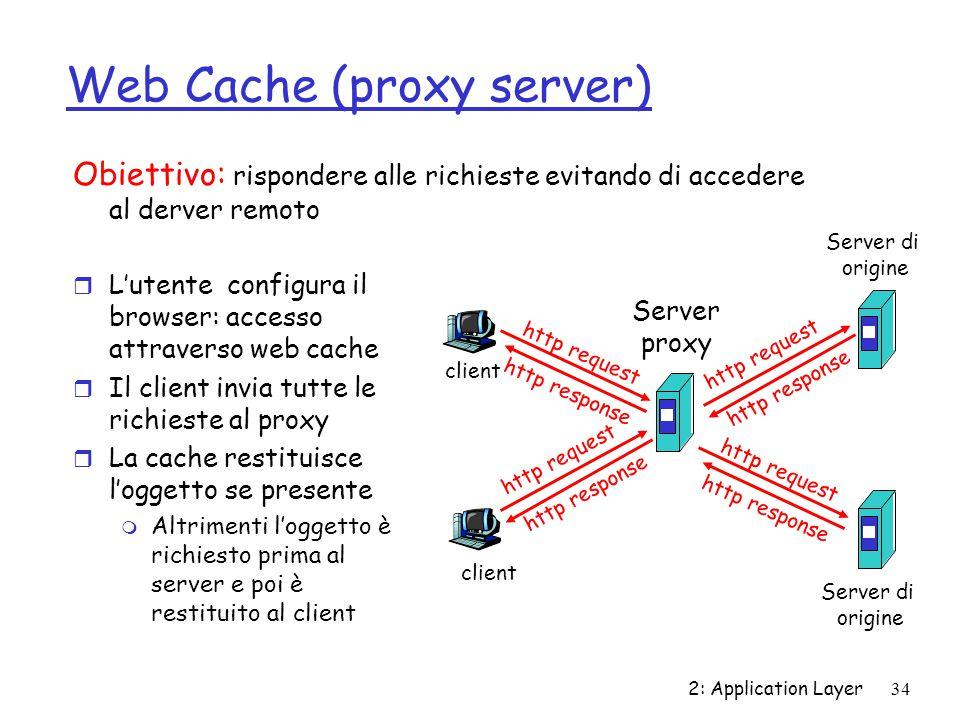 2: Application Layer 34 Web Cache (proxy server) r L'utente configura il browser: accesso attraverso web cache r Il client invia tutte le richieste al