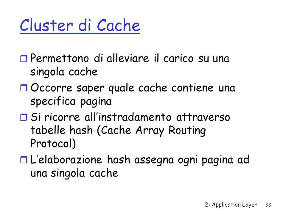 2: Application Layer 38 Cluster di Cache r Permettono di alleviare il carico su una singola cache r Occorre saper quale cache contiene una specifica p