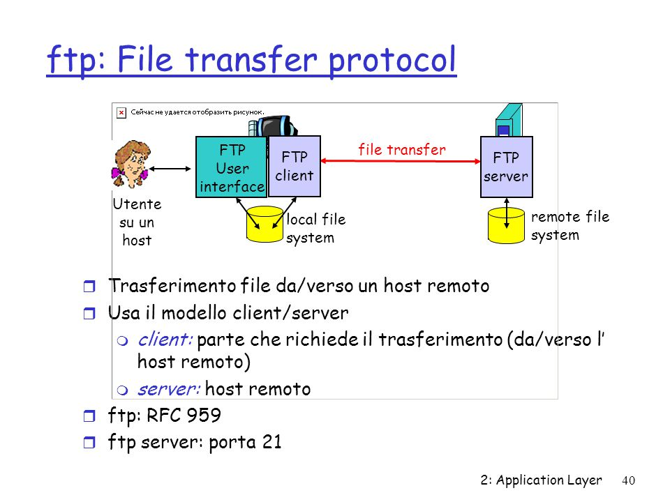 2: Application Layer 40 ftp: File transfer protocol r Trasferimento file da/verso un host remoto r Usa il modello client/server m client: parte che ri