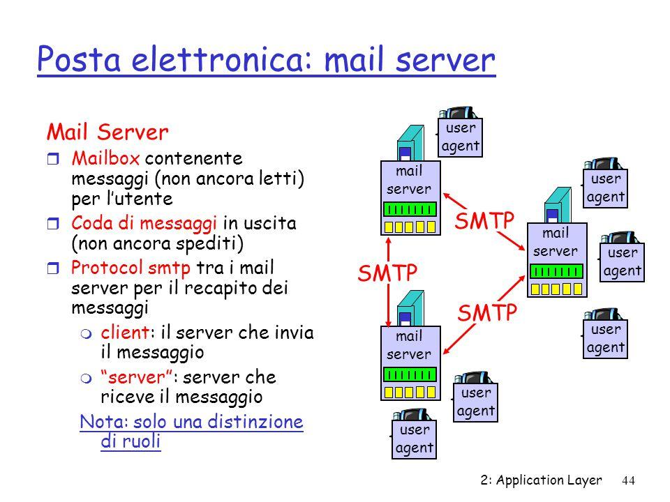 2: Application Layer 44 Posta elettronica: mail server Mail Server r Mailbox contenente messaggi (non ancora letti) per l'utente r Coda di messaggi in