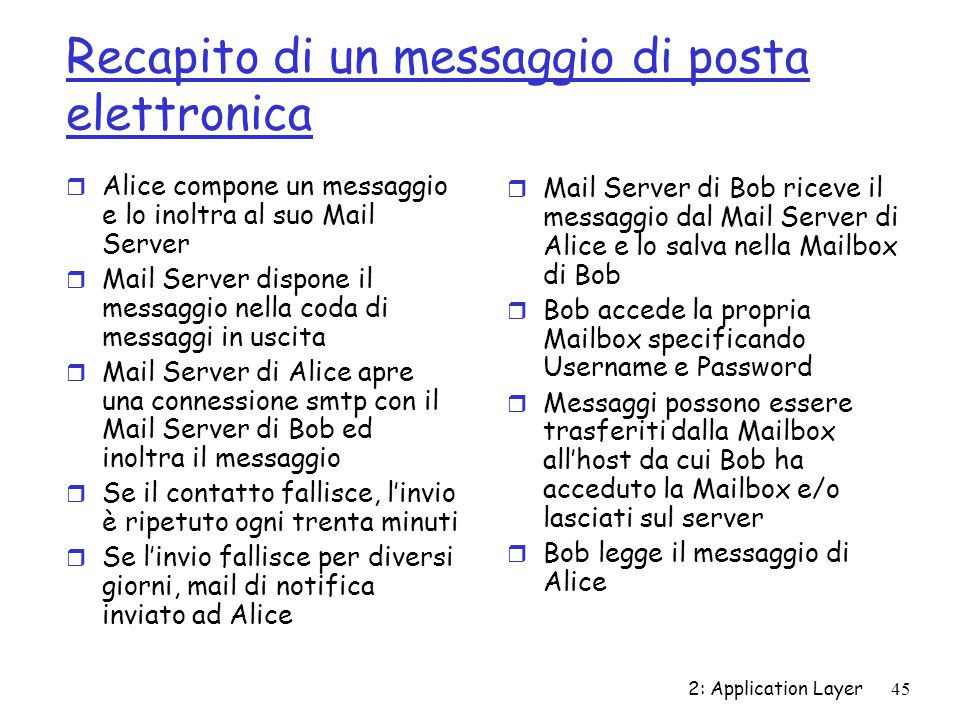 2: Application Layer 45 Recapito di un messaggio di posta elettronica r Alice compone un messaggio e lo inoltra al suo Mail Server r Mail Server dispo