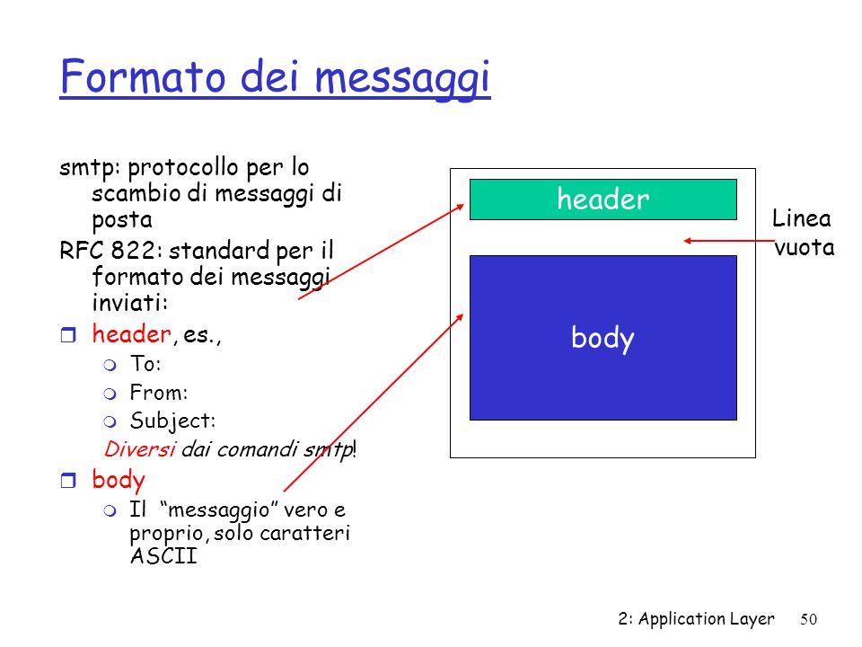 2: Application Layer 50 Formato dei messaggi smtp: protocollo per lo scambio di messaggi di posta RFC 822: standard per il formato dei messaggi inviat