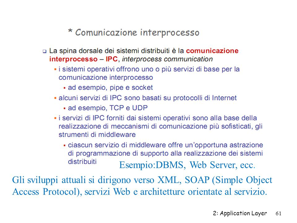 2: Application Layer 61 Esempio:DBMS, Web Server, ecc. Gli sviluppi attuali si dirigono verso XML, SOAP (Simple Object Access Protocol), servizi Web e