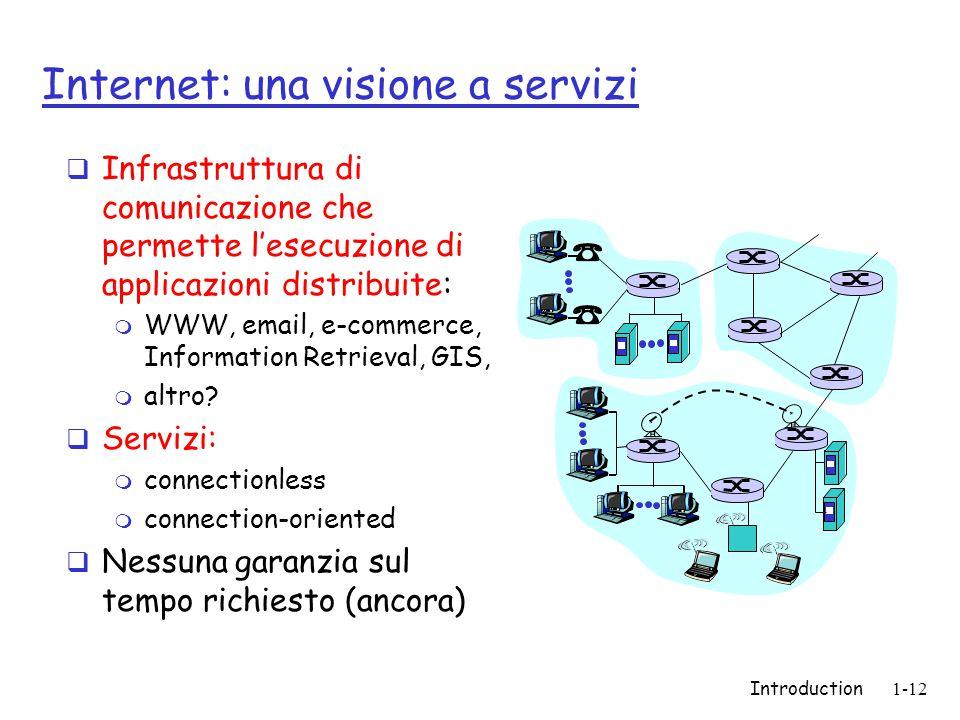 Introduction1-12 Internet: una visione a servizi  Infrastruttura di comunicazione che permette l'esecuzione di applicazioni distribuite: m WWW, email, e-commerce, Information Retrieval, GIS, m altro.