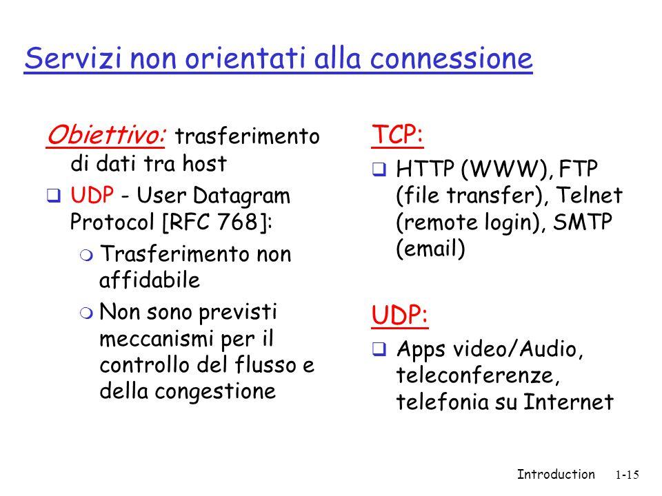 Introduction1-15 Servizi non orientati alla connessione Obiettivo: trasferimento di dati tra host  UDP - User Datagram Protocol [RFC 768]: m Trasferimento non affidabile m Non sono previsti meccanismi per il controllo del flusso e della congestione TCP:  HTTP (WWW), FTP (file transfer), Telnet (remote login), SMTP (email) UDP:  Apps video/Audio, teleconferenze, telefonia su Internet