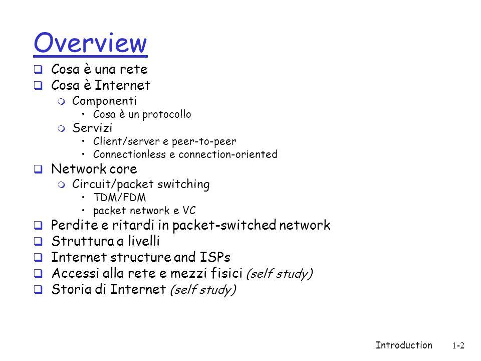 Introduction1-83 L'evoluzione di Internet rete sperimentale rete per la ricercainfrastruttura Darpa - Arpanet NSF - Internet (National Science Foundation ) Internet globale 196719841991