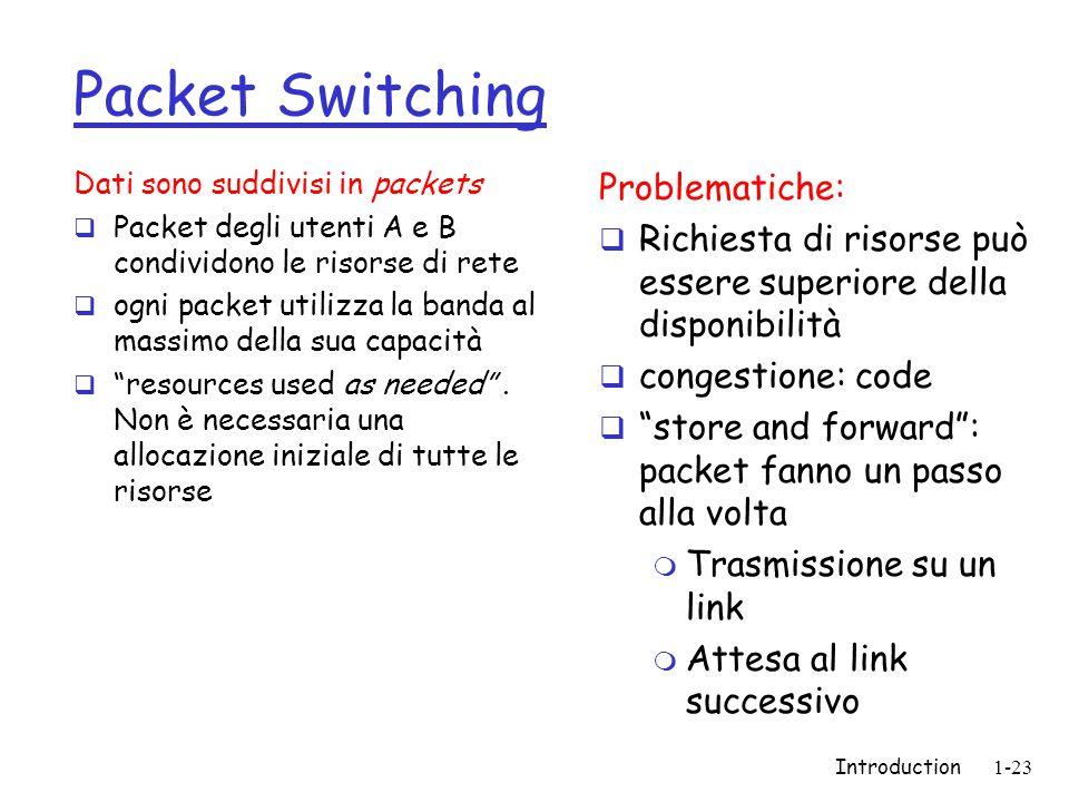 Introduction1-23 Packet Switching Dati sono suddivisi in packets  Packet degli utenti A e B condividono le risorse di rete  ogni packet utilizza la banda al massimo della sua capacità  resources used as needed .