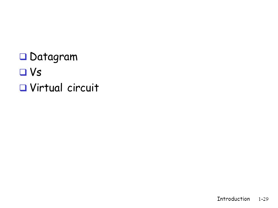 Introduction1-29  Datagram  Vs  Virtual circuit