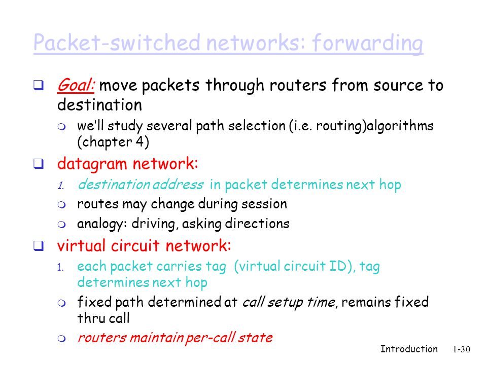 Introduction1-30 Packet-switched networks: forwarding  Goal: move packets through routers from source to destination m we'll study several path selection (i.e.