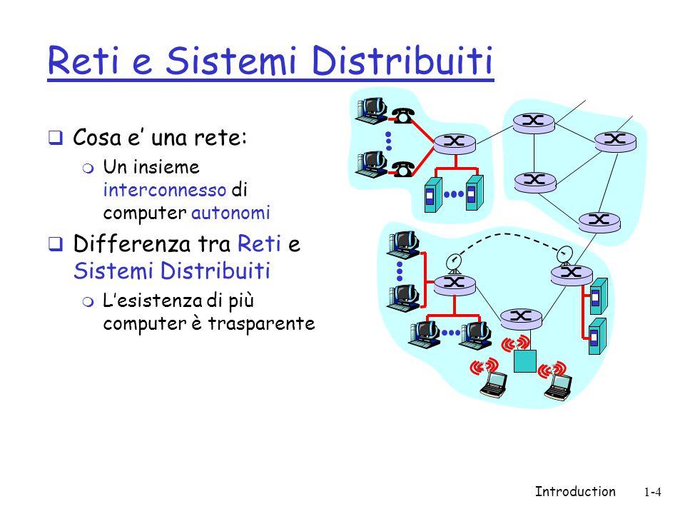 Introduction1-4 Reti e Sistemi Distribuiti  Cosa e' una rete: m Un insieme interconnesso di computer autonomi  Differenza tra Reti e Sistemi Distribuiti m L'esistenza di più computer è trasparente