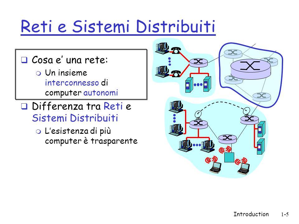 Introduction1-5 Reti e Sistemi Distribuiti  Cosa e' una rete: m Un insieme interconnesso di computer autonomi  Differenza tra Reti e Sistemi Distribuiti m L'esistenza di più computer è trasparente