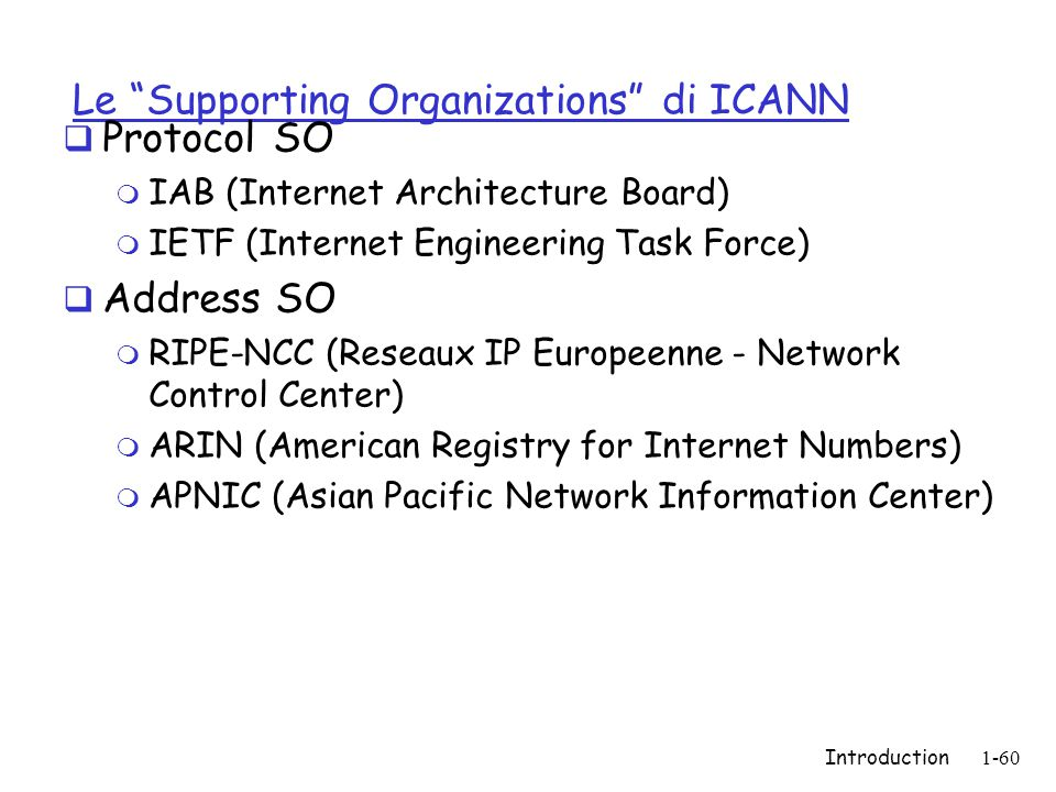 Introduction1-60 Le Supporting Organizations di ICANN  Protocol SO m IAB (Internet Architecture Board) m IETF (Internet Engineering Task Force)  Address SO m RIPE-NCC (Reseaux IP Europeenne - Network Control Center) m ARIN (American Registry for Internet Numbers) m APNIC (Asian Pacific Network Information Center)