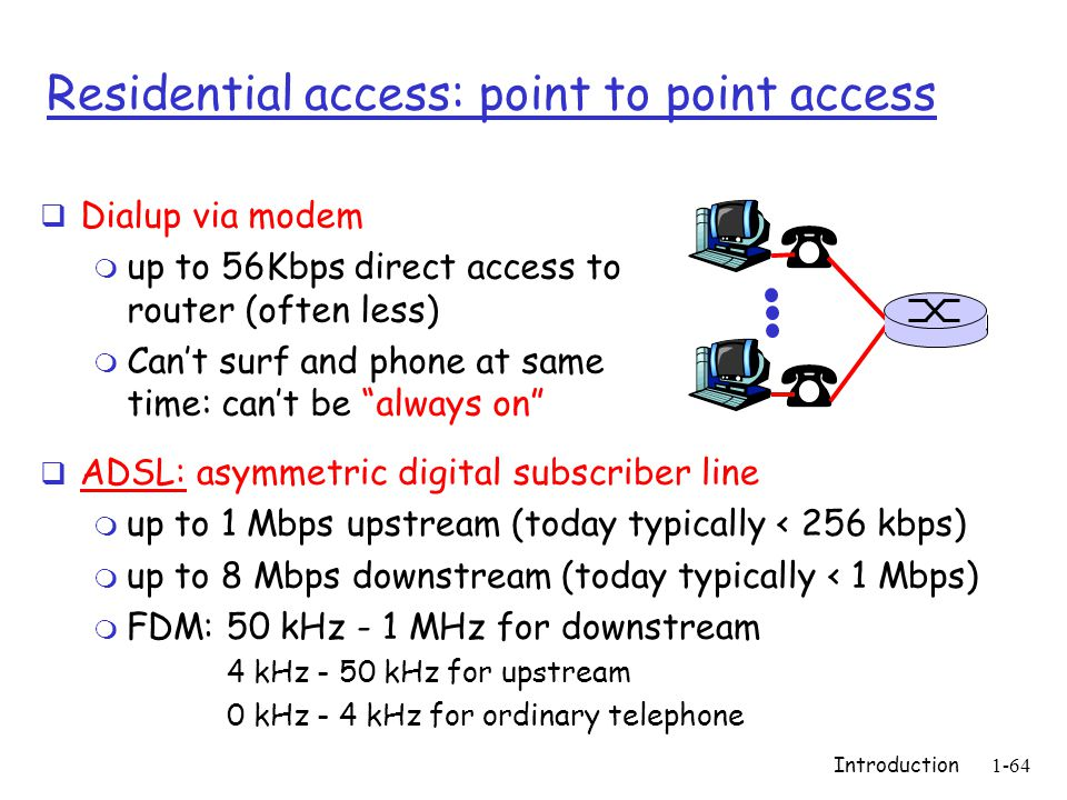 Introduction1-64 Residential access: point to point access  Dialup via modem m up to 56Kbps direct access to router (often less) m Can't surf and phone at same time: can't be always on  ADSL: asymmetric digital subscriber line m up to 1 Mbps upstream (today typically < 256 kbps) m up to 8 Mbps downstream (today typically < 1 Mbps) m FDM: 50 kHz - 1 MHz for downstream 4 kHz - 50 kHz for upstream 0 kHz - 4 kHz for ordinary telephone