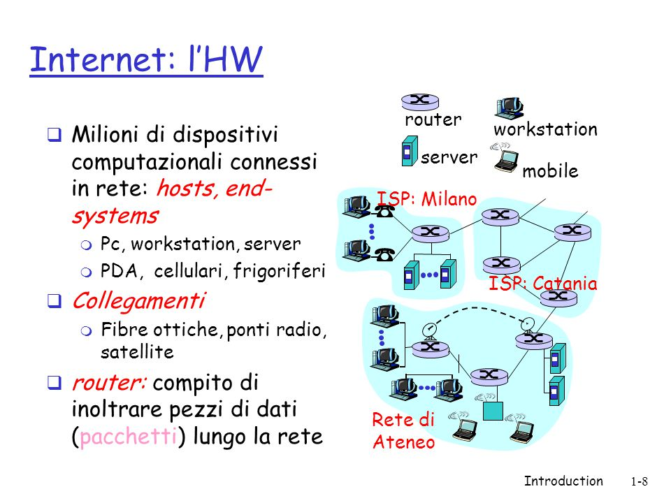 Introduction1-79 Internet History  1970: ALOHAnet satellite network in Hawaii  1973: Metcalfe's PhD thesis proposes Ethernet  1974: Cerf and Kahn - architecture for interconnecting networks  late70's: proprietary architectures: DECnet, SNA, XNA  late 70's: switching fixed length packets (ATM precursor)  1979: ARPAnet has 200 nodes Cerf and Kahn's internetworking principles: m minimalism, autonomy - no internal changes required to interconnect networks m best effort service model m stateless routers m decentralized control define today's Internet architecture 1972-1980: Internetworking, new and proprietary nets