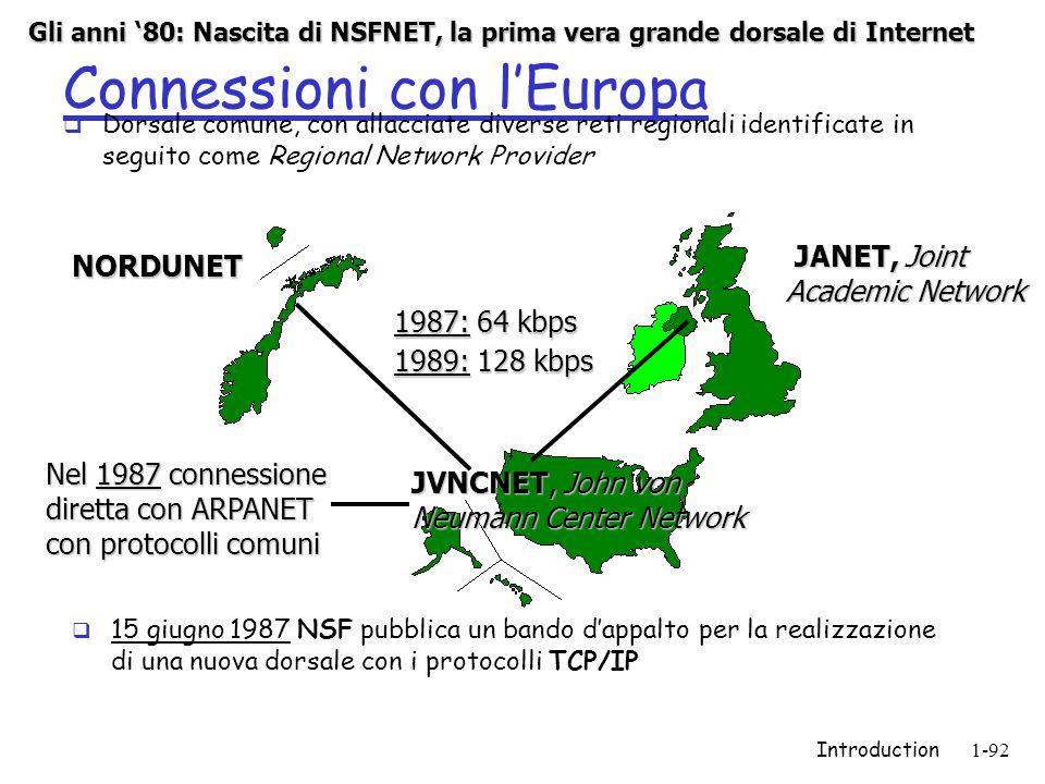 Introduction1-92 Connessioni con l'Europa  Dorsale comune, con allacciate diverse reti regionali identificate in seguito come Regional Network Provider JANET, Joint Academic Network JANET, Joint Academic Network NORDUNET JVNCNET, John von Neumann Center Network 1987: 64 kbps 1989: 128 kbps Nel 1987 connessione diretta con ARPANET con protocolli comuni  15 giugno 1987 NSF pubblica un bando d'appalto per la realizzazione di una nuova dorsale con i protocolli TCP/IP Gli anni '80: Nascita di NSFNET, la prima vera grande dorsale di Internet