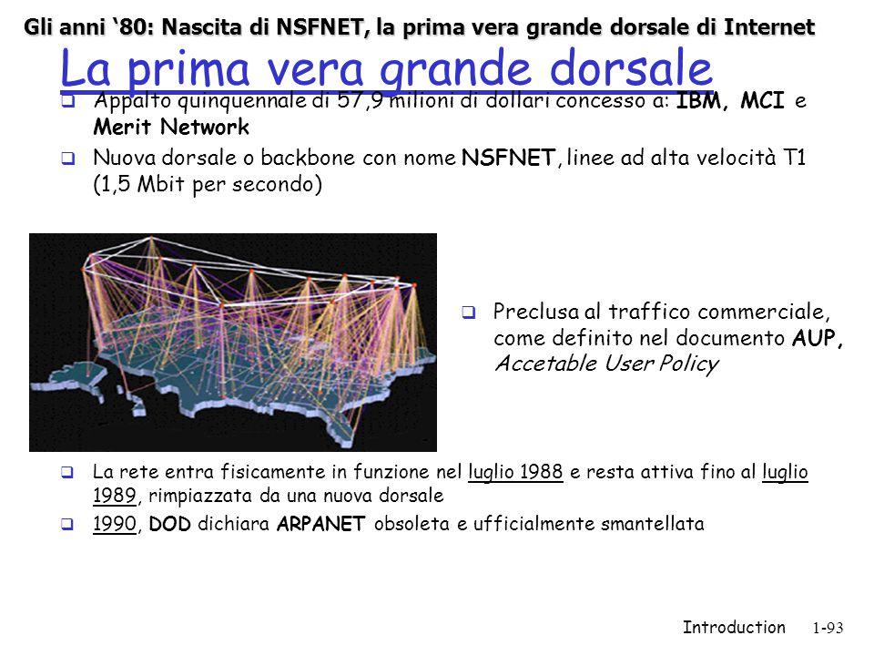 Introduction1-93 La prima vera grande dorsale  Appalto quinquennale di 57,9 milioni di dollari concesso a: IBM, MCI e Merit Network  Nuova dorsale o backbone con nome NSFNET, linee ad alta velocità T1 (1,5 Mbit per secondo)  Preclusa al traffico commerciale, come definito nel documento AUP, Accetable User Policy  La rete entra fisicamente in funzione nel luglio 1988 e resta attiva fino al luglio 1989, rimpiazzata da una nuova dorsale  1990, DOD dichiara ARPANET obsoleta e ufficialmente smantellata Gli anni '80: Nascita di NSFNET, la prima vera grande dorsale di Internet