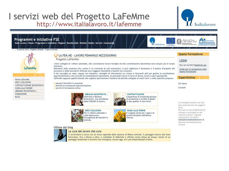 I servizi web del Progetto LaFeMme http://www.italialavoro.it/lafemme