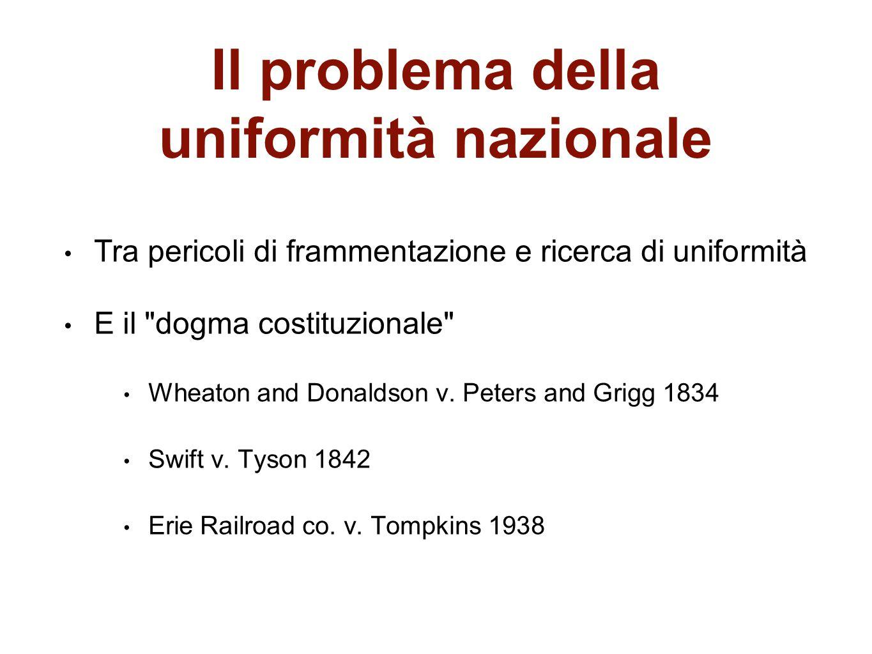 Il problema della uniformità nazionale Tra pericoli di frammentazione e ricerca di uniformità E il
