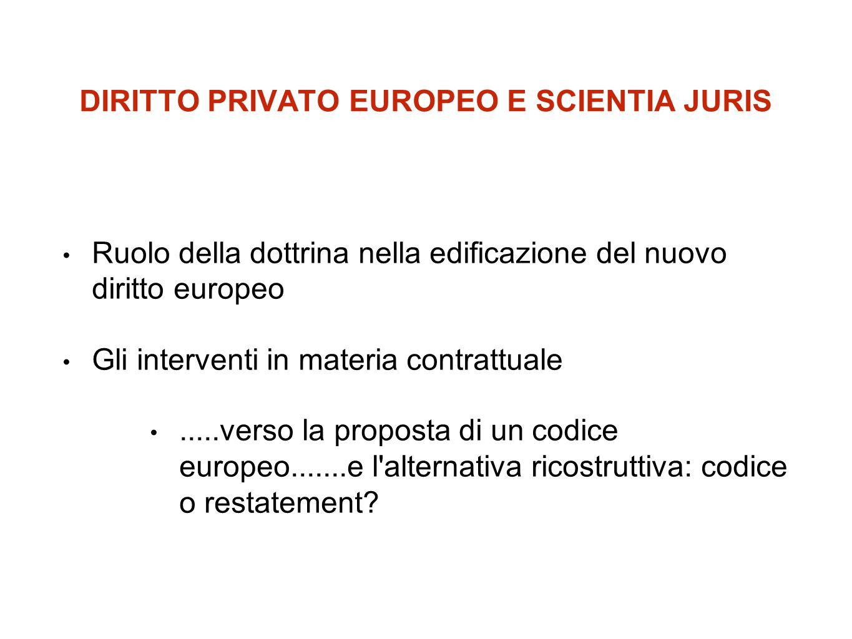 DIRITTO PRIVATO EUROPEO E SCIENTIA JURIS Ruolo della dottrina nella edificazione del nuovo diritto europeo Gli interventi in materia contrattuale.....