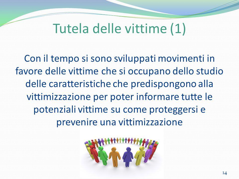 Tutela delle vittime (1) Con il tempo si sono sviluppati movimenti in favore delle vittime che si occupano dello studio delle caratteristiche che pred