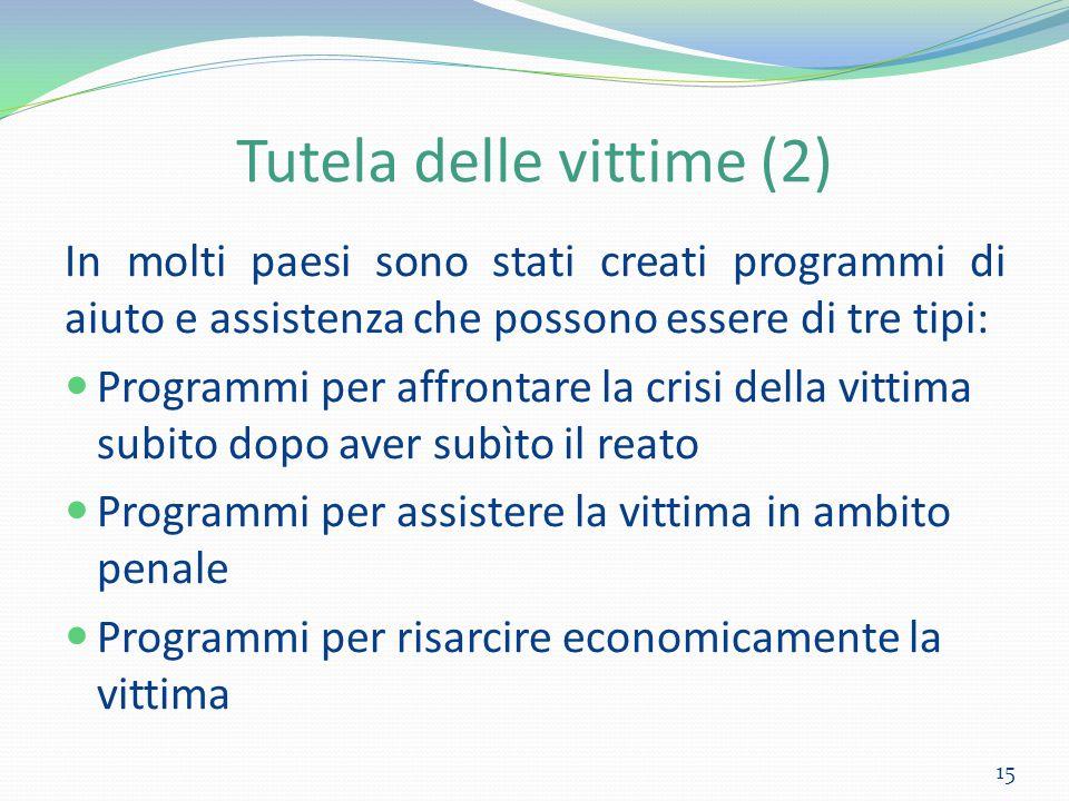 Tutela delle vittime (2) In molti paesi sono stati creati programmi di aiuto e assistenza che possono essere di tre tipi: Programmi per affrontare la