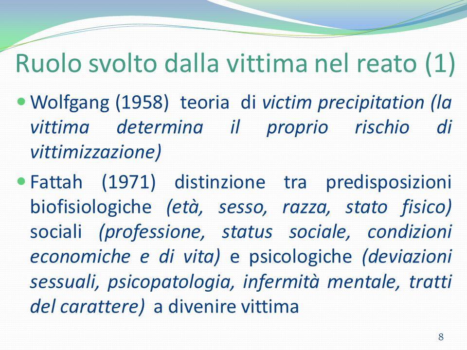 Ruolo svolto dalla vittima nel reato (1) 8 Wolfgang (1958) teoria di victim precipitation (la vittima determina il proprio rischio di vittimizzazione)