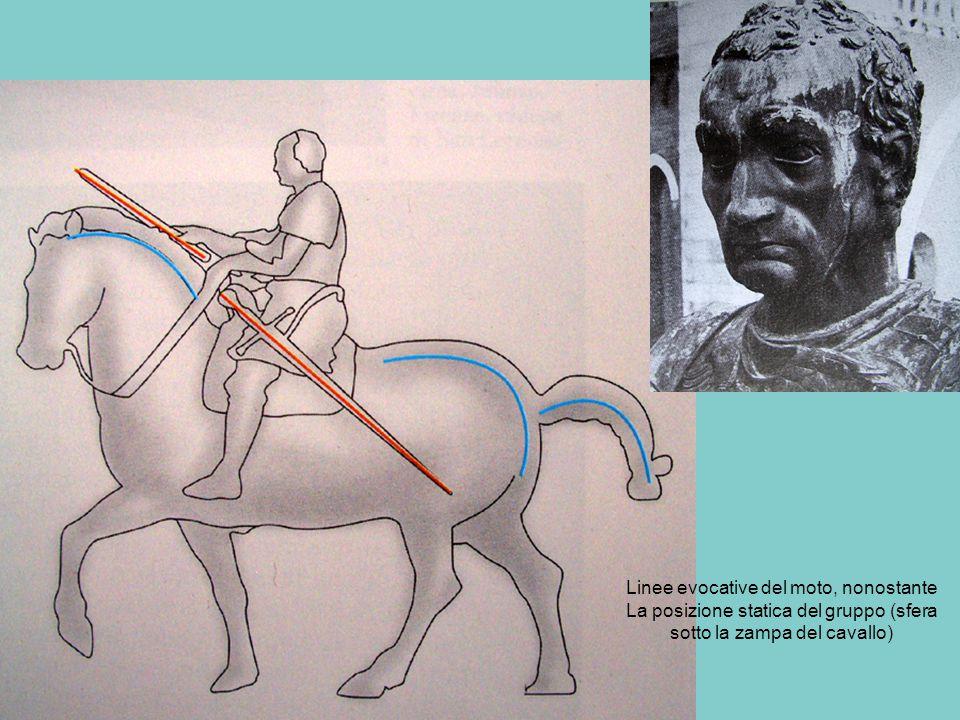 Linee evocative del moto, nonostante La posizione statica del gruppo (sfera sotto la zampa del cavallo)