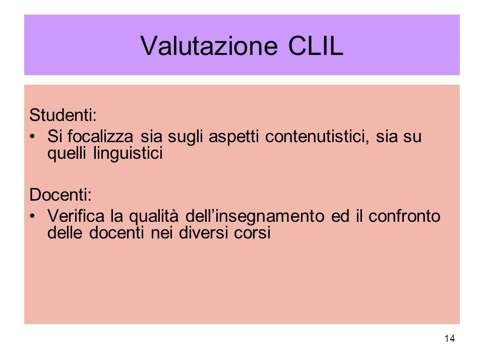 14 Valutazione CLIL Studenti: Si focalizza sia sugli aspetti contenutistici, sia su quelli linguistici Docenti: Verifica la qualità dell'insegnamento ed il confronto delle docenti nei diversi corsi