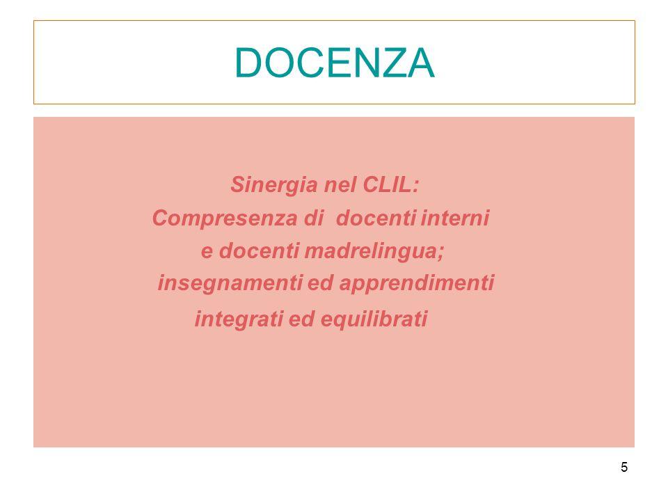 5 DOCENZA Sinergia nel CLIL: Compresenza di docenti interni e docenti madrelingua; insegnamenti ed apprendimenti integrati ed equilibrati