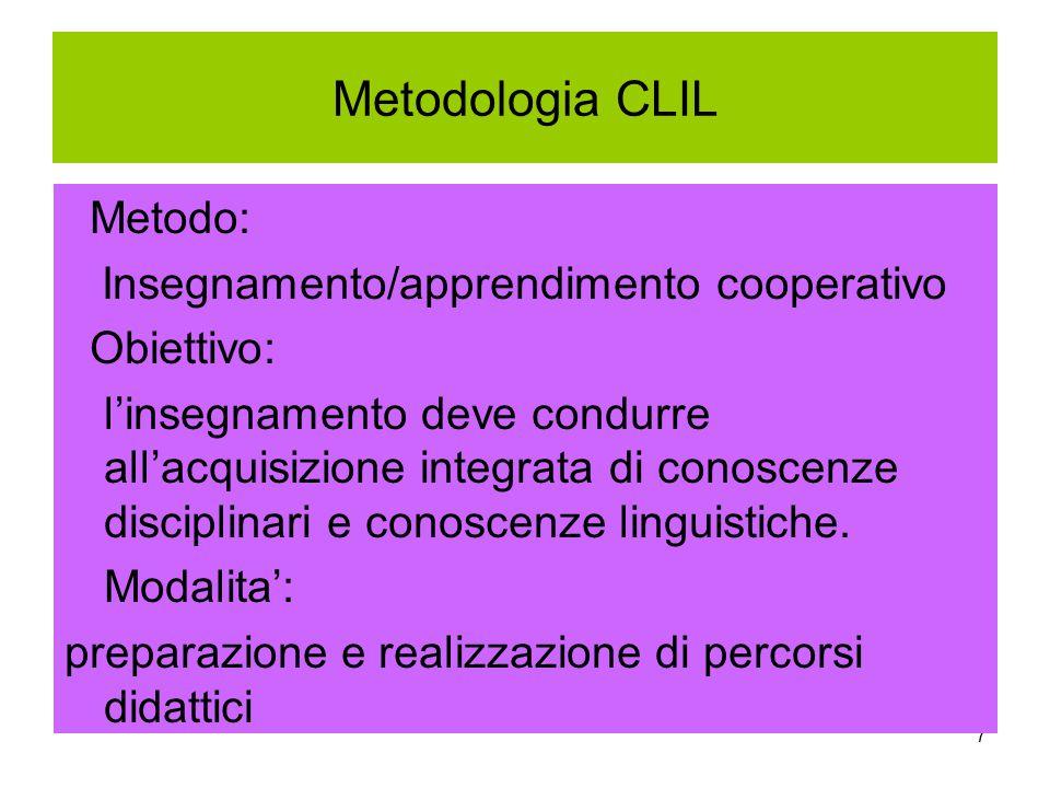 7 Metodologia CLIL Metodo: Insegnamento/apprendimento cooperativo Obiettivo: l'insegnamento deve condurre all'acquisizione integrata di conoscenze dis